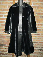 Vintage~MICHEL DANIEL~Black~FAUX FUR & Real Leather~LONG COAT~So Soft~Small/Med