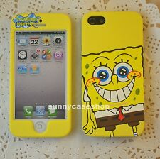Newest Cartoon Yellow SpongeBob front back hard case cover for Apple iphone5s/5