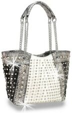 Black and White Rhinestone and Stud Accented Metallic Fashion Handbag
