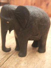OLD EBONY CARVING OF AN AFRICAN ELEPHANT