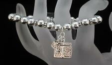 Silver Tone Bead and Locket Stretch Bracelet