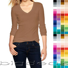 Basic V-Neck T Shirt Plain Solid Color Top Stretch Layer Fitted Women Thin 3058