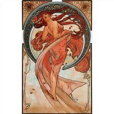 Handcrafted Alphonse Mucha Art Nouveau Dance Greeting Card Note Paper Picture