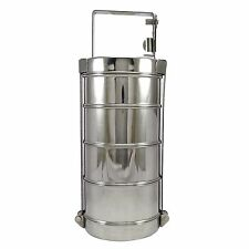 4 Tier Stainless Steel Lunch Box Indian Tiffin Round Food Container Carrier Set