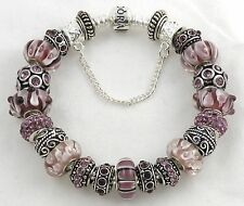 Authentic PANDORA Bracelet with DEEP PURPLE European Charms & Murano Beads