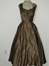 Fabulous Jacques Fath Green Silk Dinner / Evening Dress w Circle Skirt SM