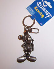 Licensed Disney MICKEY MOUSE Silver PEWTER KEYCHAIN Key Chain Key Ring Fob NEW