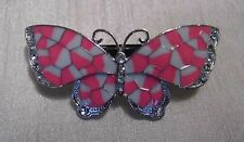 Pink Butterfly Barrette Hairclip with Diamantes