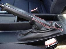 CUFFIA FRENO A MANO adatta BMW modello E36  VERA PELLE NERA CUCITURA ROSSA