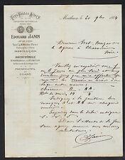 """MONTLUCON (03) MATERIAUX de CONSTRUCTION & METAUX """"MOUSSY / Edouard JANIN"""" 1884"""