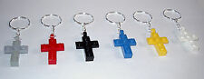 10 LEGO CROSS KEYCHAIN  RELIGIOUS PARTY FAVOR SUNDAY BIBLE CHURCH SCHOOL KEYRING