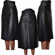 Leather Skirt Black Midi Vintage lined pockets quilt detail Size UK 10 EUR 38