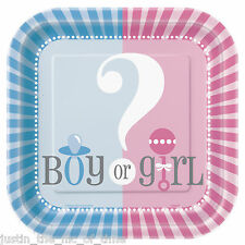 "GENDER REVEAL Unisex Boy Girl Pink & Blue Tableware 7"" PAPER PLATES x10"
