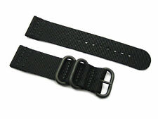 HNS ZULU 2 Pieces Black Heavy Duty Ballistic Nylon Watch Strap 3 PVD Rings