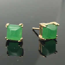 Fashion Women Jewelry 18k Rose Gold Plated Square Emerald Jade Stud Earrings