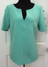 ASOS Womens Aqua Blue V Neck Knit Top SZ 8 Short Sleeve Bows Stretchy Med Weight