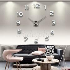 Modern 3D Frameless GIANT ADHESIVE WALL CLOCK STICKER Watches Hours Home Decor