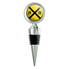 Railroad Crossing Traffic Sign Train Wine Bottle Stopper