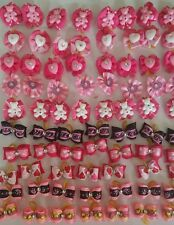 40 pcs pink St.Valentine Rubber band hair bows for dog cat grooming handmade