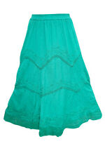 WOMEN'S LONG SKIRT TURQUOISE EMBROIDERED HIPPIE GYPSY BOHO CHIC RAYON SKIRTS