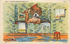 WHY I CLEAN FORGOT TO WRITE YOU Comic Postcard DOG IN BATH TUB 1944