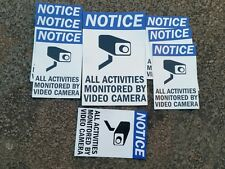 VIDEO SURVEILLANCE CCTV Security Decal  Warning Sticker set of 8 blue. #5