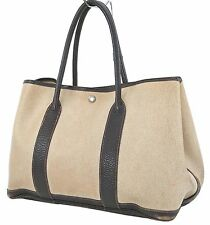 Authentic HERMES Toile H Beige and Brown Garden Party Tote Bag Purse #15516