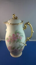 Antique J. P. Limoges 1890's Hand Painted Apple Blossom Chocolate Pot