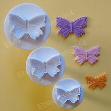 Veined butterfly plunger cookie cutters 3 pcs. set. Cortadores de mariposas