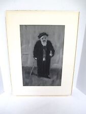 Vintage Judaica Jewish Charcoal Painting Drawing of a Rabbi Artist Signed