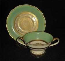 Royal Bayreuth Bouillon Cup & Saucer, Mint Green, Gold Filigree, Scalloped Rim