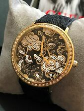 Guess Women's Black Sequined Leather Strap Crystal Floral Watch U0820L1 NWT