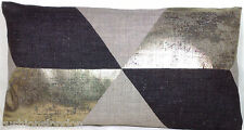 Pierre Frey Cushion Cover Fabric Cubus Printed Linen Grey Gold Brown Rectangle