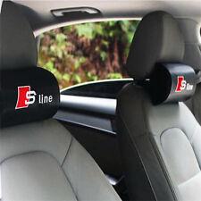 2pcs Carbon Fiber Car Rest Cushion Seat Headrest Neck Pillow For Audi Sline Logo