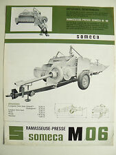 Prospectus Tracteur   SOMECA  Presse M06   1965  brochure catalogue