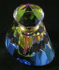 Perfume Essential Oil Bottle Vitrail Rainbow Faceted Glass Oval Gold Plated
