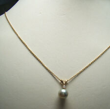 """14 K Gold Chain Necklace w/  Blue Gray Pearl Tiny White Stone Pendant 2.5g  18"""""""