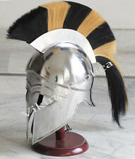MEDIEVAL GREEK CORINTHIAN BLACK / YELLOW PLUME CRUSADER KNIGHT ARMOR HELMET