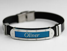 OLIVER - Mens Silicone & Blue Name Plate Engraved Bracelet - Jewelry Gifts