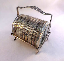 Sterling 11 Piece Sterling and Glass Coaster Set W/ Caddy by Webster