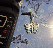 Rhinestone Butterfly Cell Phone Charm~Dust Plug Cover~Smartphone~$1 Shipping