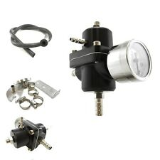 Black ADJUSTABLE FUEL PRESSURE REGULATOR 0-140 PSI GAUGE+HOSE KIT