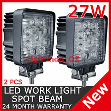 2PCS 27W LED WORK LIGHT SPOT LIGHT SQUARE OFFROAD UTE BOAT LAMP TRUCK 4WD BAR