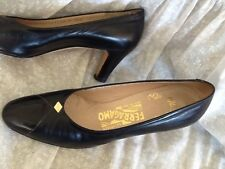 "Ferragamo Black Leather Classic Pumps with 2.5"" Heels Size 8AAA"