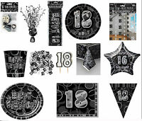 18th Black Glitz Birhtday Party Supplies Decorations Tableware 18 items Free P+P