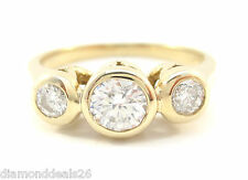 0.53CT Fine Round Diamond Engagement  3 Stone Ring 14K Yellow Gold F/VS1