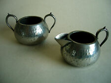 Vintage 1930s English Pewter Milk Jug And Sugar Bowl Craftsman Sheffield