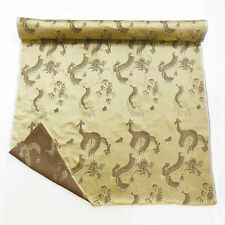 0.5 Yard Chinese Faux Silk Brocade Fabric Dull Gold Dragons Embroidered cbs 620