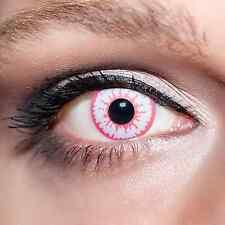 Pinke Wolfsaugen Kontaktlinsen rosa / weiße farbige Wolf-Augen pink weisse;K527
