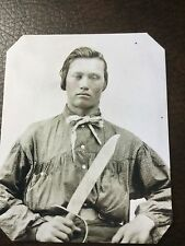 Civil War Confederate Military Soldier With Large Knife TinType C660NP